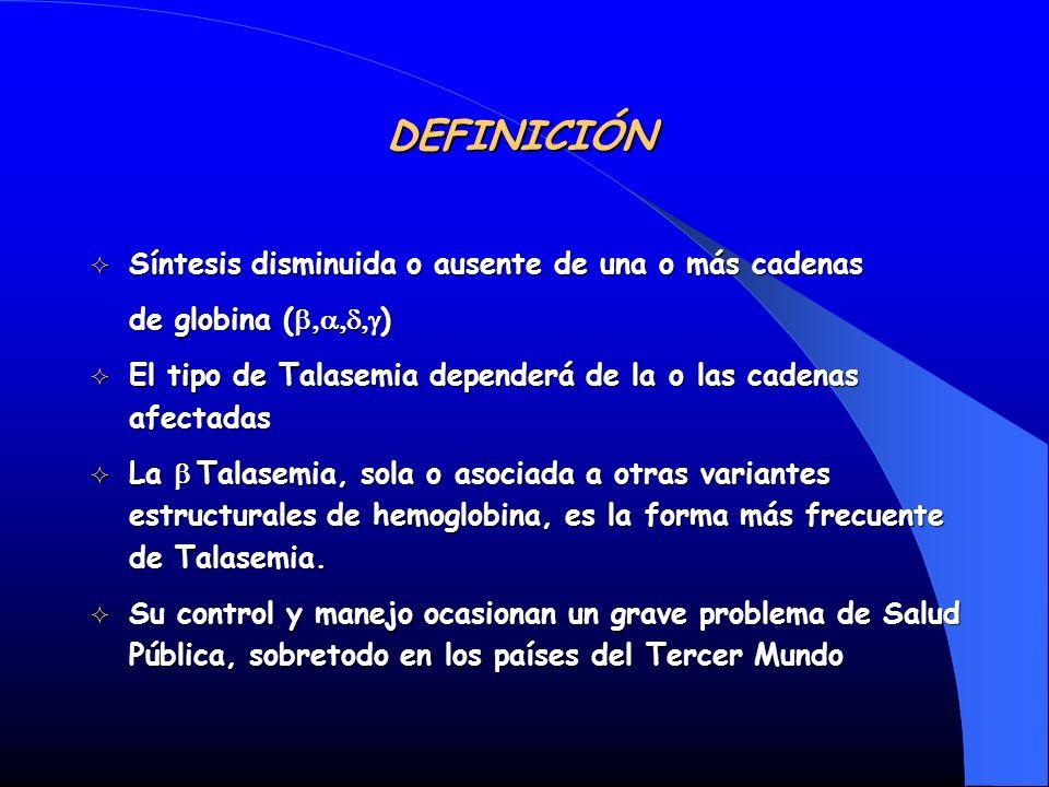 DEFINICIÓN Síntesis disminuida o ausente de una o más cadenas Síntesis disminuida o ausente de una o más cadenas de globina ( ) El tipo de Talasemia d