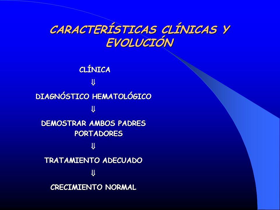 CARACTERÍSTICAS CLÍNICAS Y EVOLUCIÓN CLÍNICA CLÍNICA DIAGNÓSTICO HEMATOLÓGICO DEMOSTRAR AMBOS PADRES PORTADORES TRATAMIENTO ADECUADO CRECIMIENTO NORMA
