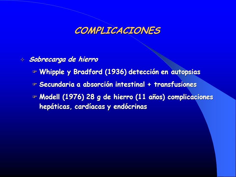 Sobrecarga de hierro Sobrecarga de hierro Whipple y Bradford (1936) detección en autopsias Whipple y Bradford (1936) detección en autopsias Secundaria