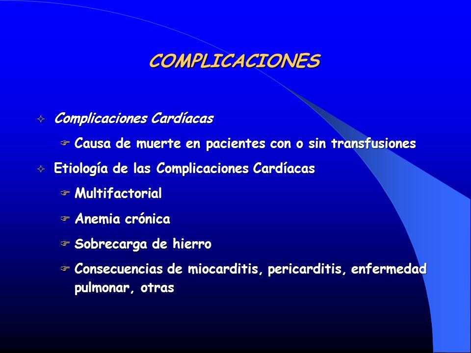 Complicaciones Cardíacas Complicaciones Cardíacas Causa de muerte en pacientes con o sin transfusiones Causa de muerte en pacientes con o sin transfus