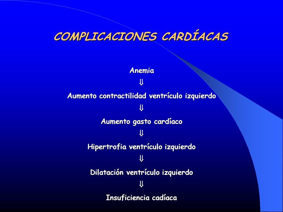 COMPLICACIONES CARDÍACAS Anemia Aumento contractilidad ventrículo izquierdo Aumento gasto cardíaco Hipertrofia ventrículo izquierdo Dilatación ventríc