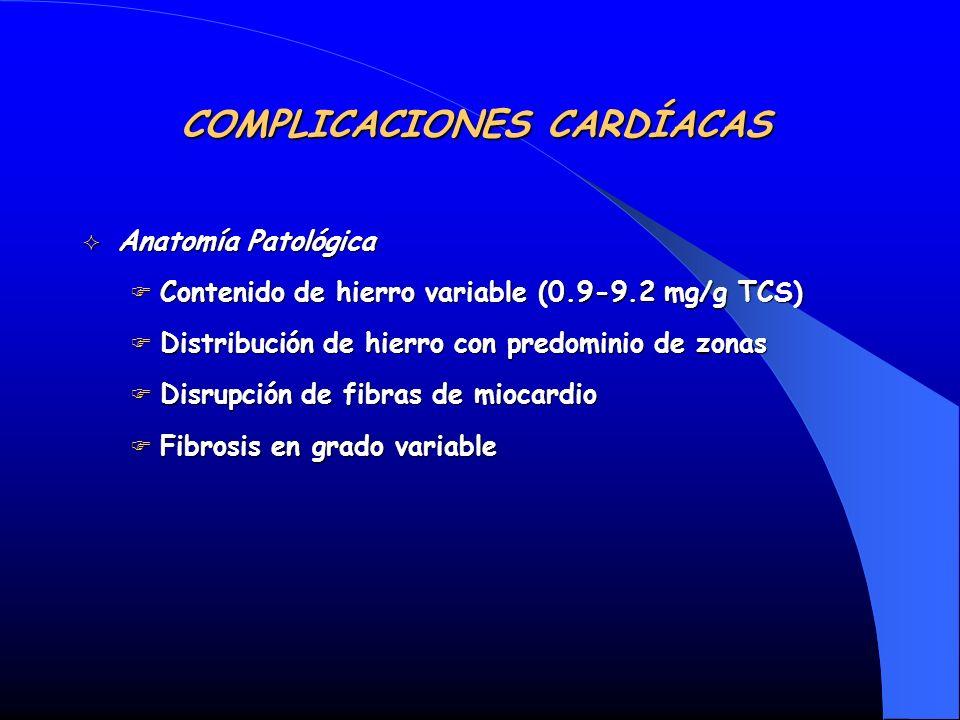 Anatomía Patológica Anatomía Patológica Contenido de hierro variable (0.9-9.2 mg/g TCS) Contenido de hierro variable (0.9-9.2 mg/g TCS) Distribución d