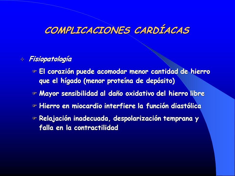 Fisiopatología Fisiopatología El corazión puede acomodar menor cantidad de hierro que el hígado (menor proteína de depósito) El corazión puede acomoda