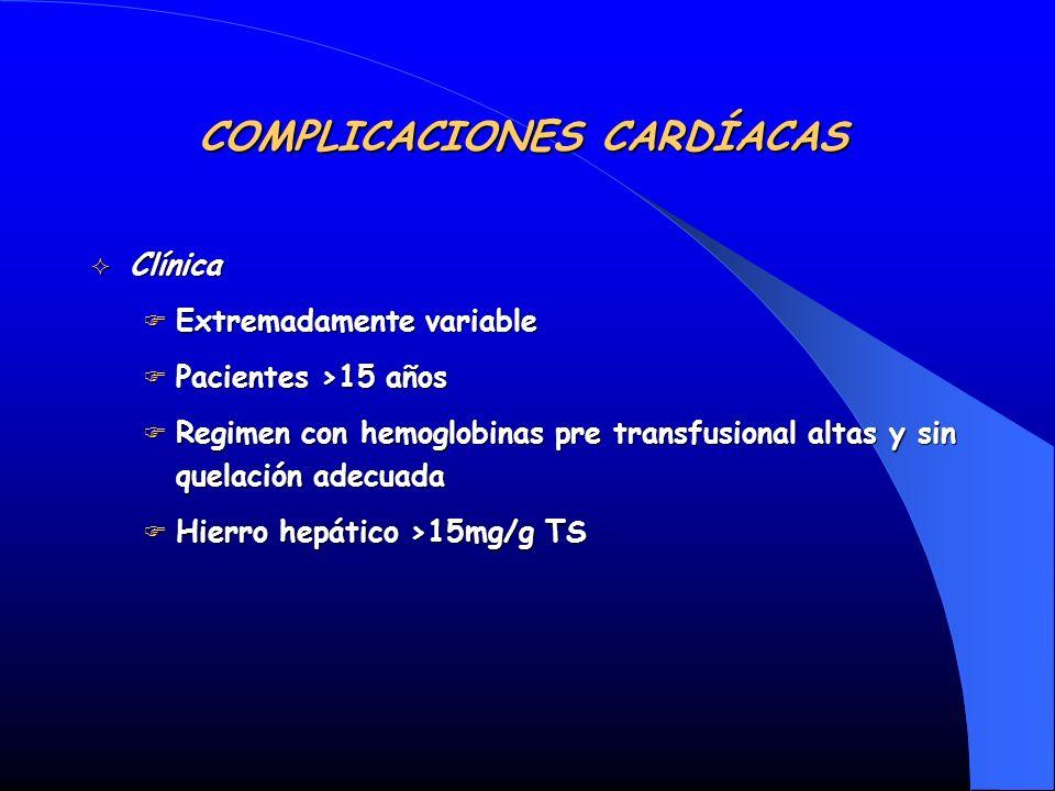 Clínica Clínica Extremadamente variable Extremadamente variable Pacientes >15 años Pacientes >15 años Regimen con hemoglobinas pre transfusional altas
