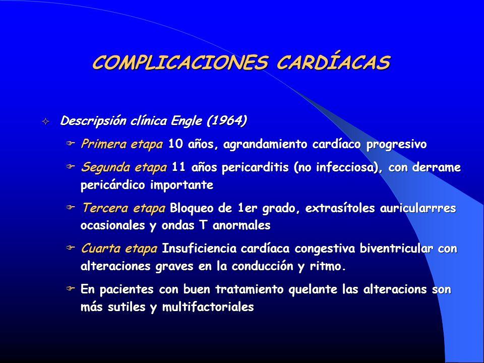 Descripsión clínica Engle (1964) Descripsión clínica Engle (1964) Primera etapa 10 años, agrandamiento cardíaco progresivo Primera etapa 10 años, agra