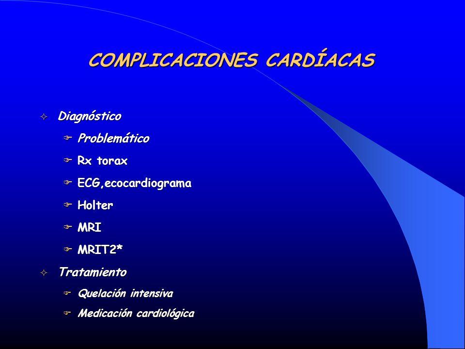 Diagnóstico Diagnóstico Problemático Problemático Rx torax Rx torax ECG,ecocardiograma ECG,ecocardiograma Holter Holter MRI MRI MRIT2* MRIT2* Tratamie