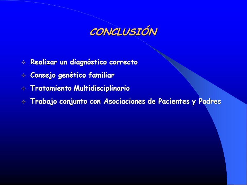 Realizar un diagnóstico correcto Realizar un diagnóstico correcto Consejo genético familiar Consejo genético familiar Tratamiento Multidisciplinario T