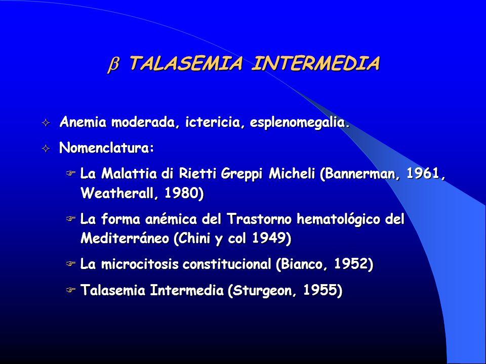 TALASEMIA INTERMEDIA TALASEMIA INTERMEDIA Anemia moderada, ictericia, esplenomegalia. Anemia moderada, ictericia, esplenomegalia. Nomenclatura: Nomenc