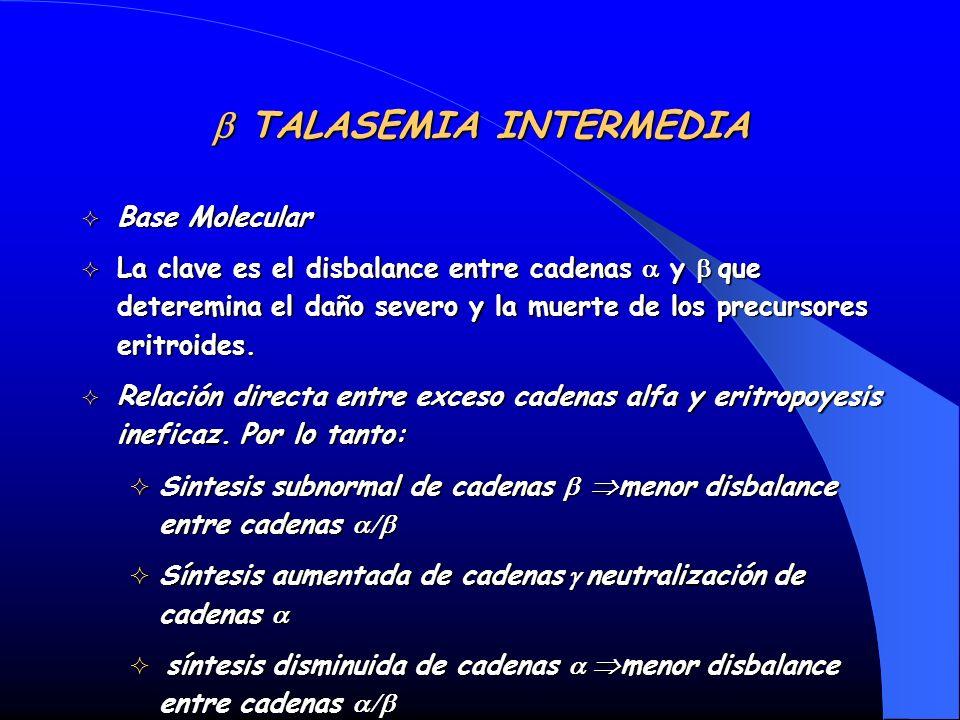 TALASEMIA INTERMEDIA TALASEMIA INTERMEDIA Base Molecular Base Molecular La clave es el disbalance entre cadenas y que deteremina el daño severo y la m