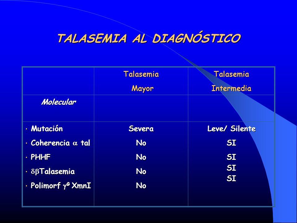 TALASEMIA AL DIAGNÓSTICO Talasemia Mayor MayorTalasemiaIntermedia Molecular Mutación Mutación Coherencia tal Coherencia tal PHHF PHHF Talasemia Talase