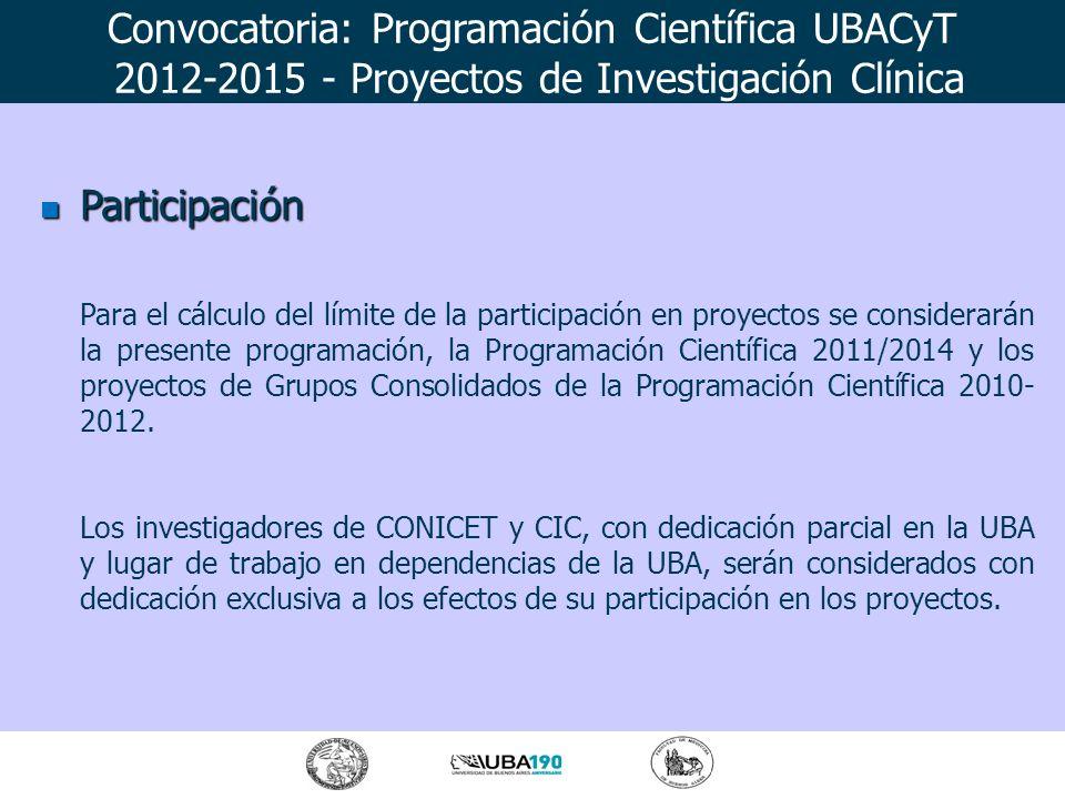Participación Participación Para el cálculo del límite de la participación en proyectos se considerarán la presente programación, la Programación Cien