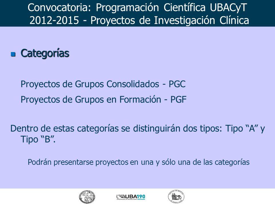 Categorías Categorías Proyectos de Grupos Consolidados - PGC Proyectos de Grupos en Formación - PGF Dentro de estas categorías se distinguirán dos tip