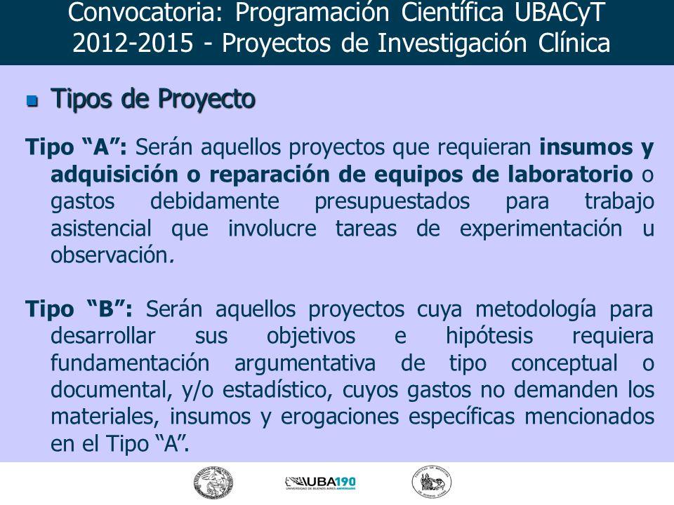 Tipos de Proyecto Tipos de Proyecto Tipo A: Serán aquellos proyectos que requieran insumos y adquisición o reparación de equipos de laboratorio o gast