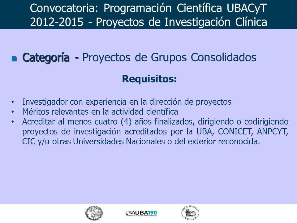 Categoría - Categoría - Proyectos de Grupos Consolidados Requisitos: Investigador con experiencia en la dirección de proyectos Méritos relevantes en l