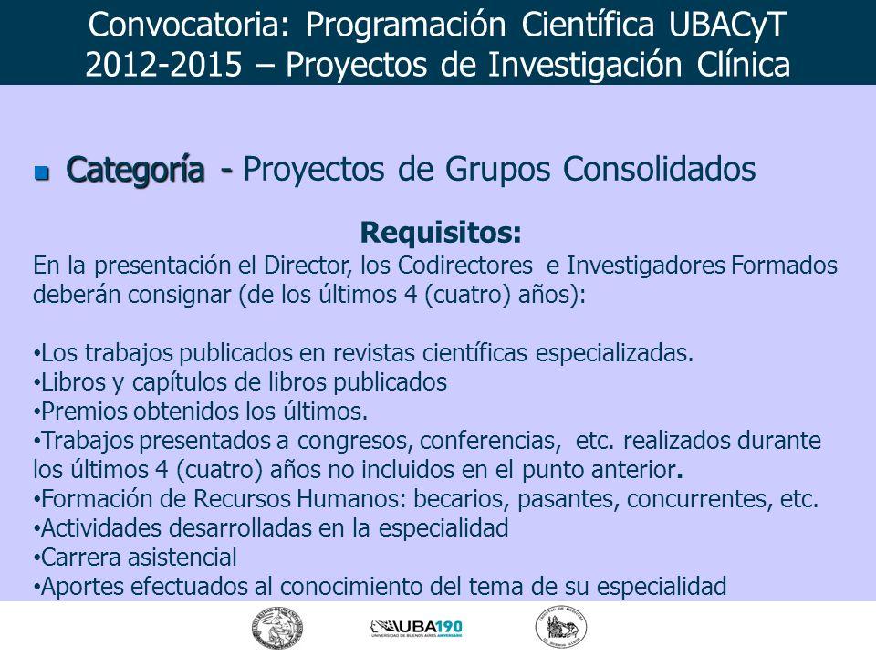Categoría - Categoría - Proyectos de Grupos Consolidados Requisitos: En la presentación el Director, los Codirectores e Investigadores Formados deberá