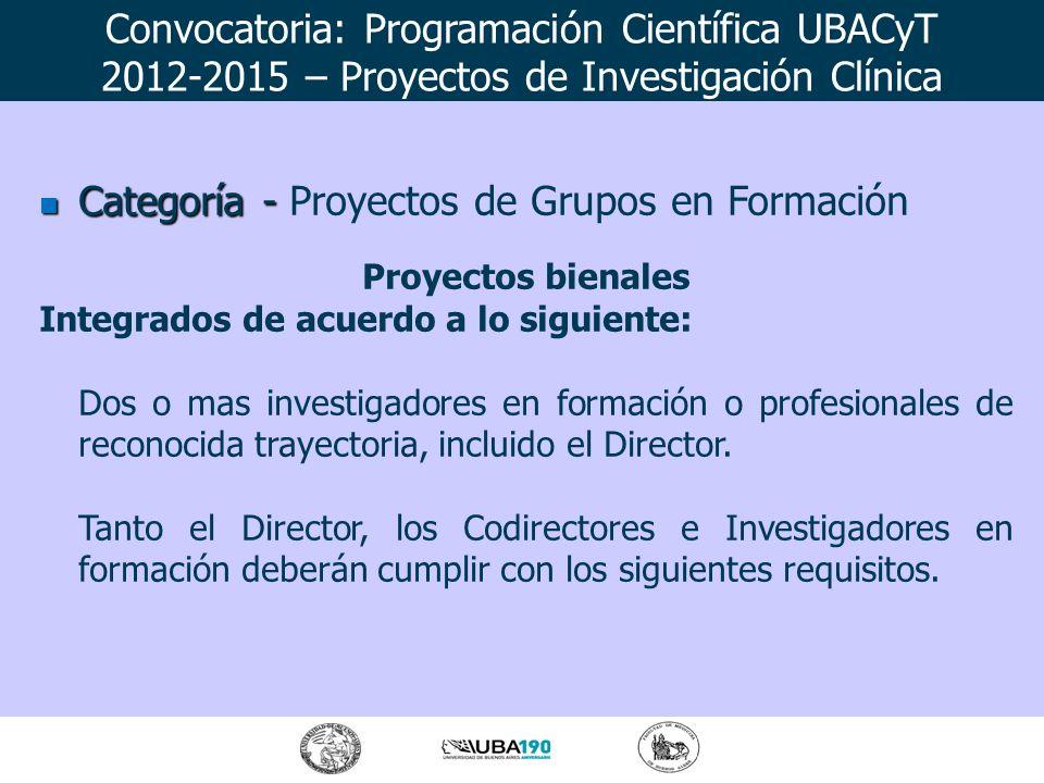 Categoría - Categoría - Proyectos de Grupos en Formación Proyectos bienales Integrados de acuerdo a lo siguiente: Dos o mas investigadores en formació