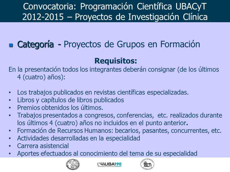 Categoría - Categoría - Proyectos de Grupos en Formación Requisitos: En la presentación todos los integrantes deberán consignar (de los últimos 4 (cua