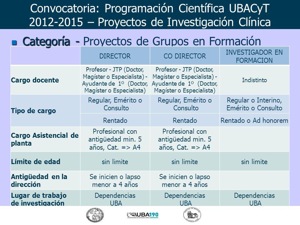 Categoría - Categoría - Proyectos de Grupos en Formación DIRECTORCO DIRECTOR INVESTIGADOR EN FORMACION Cargo docente Profesor - JTP (Doctor, Magíster