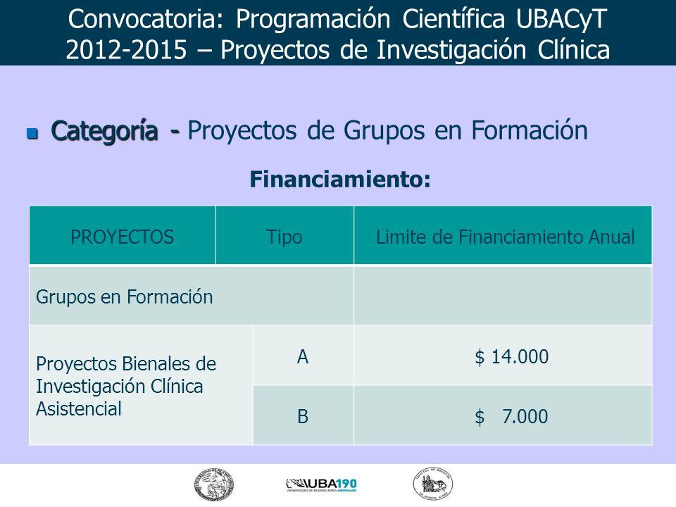 Categoría - Categoría - Proyectos de Grupos en Formación Financiamiento: Convocatoria: Programación Científica UBACyT 2012-2015 – Proyectos de Investi