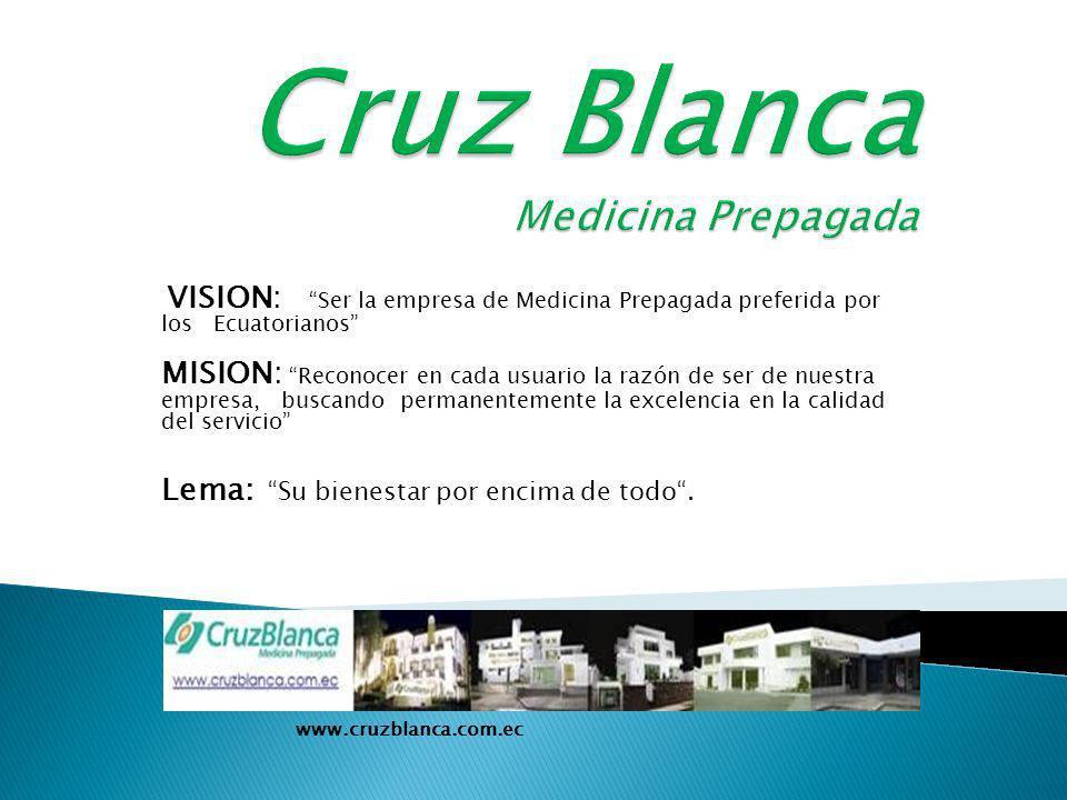 VISION: Ser la empresa de Medicina Prepagada preferida por los Ecuatorianos MISION: Reconocer en cada usuario la razón de ser de nuestra empresa, buscando permanentemente la excelencia en la calidad del servicio Lema: Su bienestar por encima de todo.