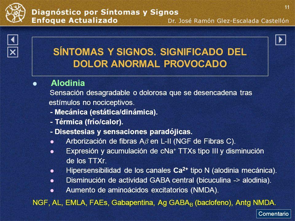 Alodinia Sensación desagradable o dolorosa que se desencadena tras estímulos no nociceptivos.