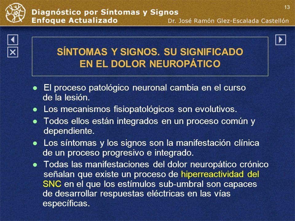 El proceso patológico neuronal cambia en el curso de la lesión.