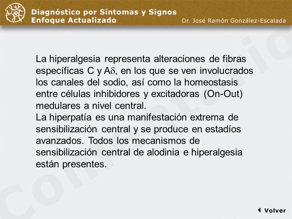 Comentario diapo13 La hiperalgesia representa alteraciones de fibras específicas C y A, en los que se ven involucrados los canales del sodio, así como la homeostasis entre células inhibidores y excitadoras (On-Out) medulares a nivel central.