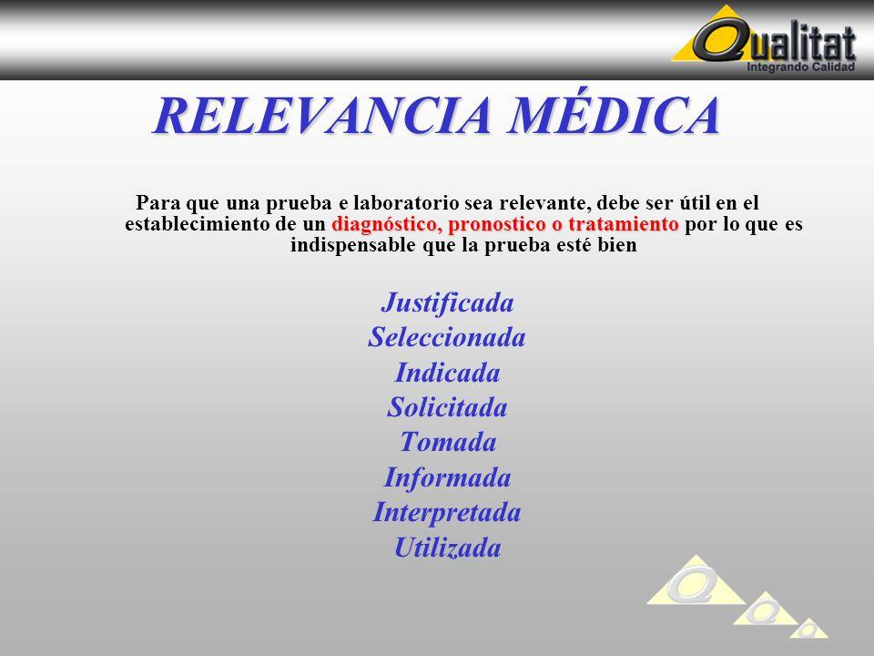 RELEVANCIA MÉDICA diagnóstico, pronostico o tratamiento Para que una prueba e laboratorio sea relevante, debe ser útil en el establecimiento de un dia