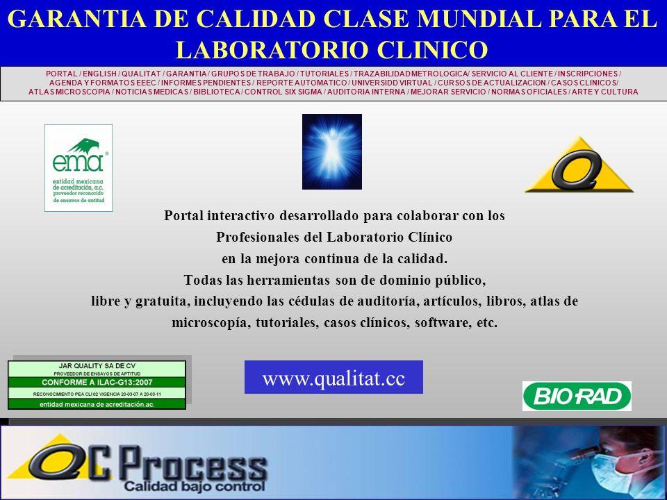 Portal interactivo desarrollado para colaborar con los Profesionales del Laboratorio Clínico en la mejora continua de la calidad. Todas las herramient