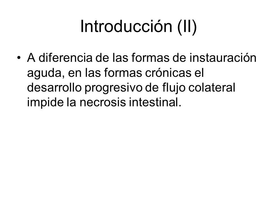 Introducción (III) La isquemia crónica intestinal es una patología de diagnóstico difícil, debido a una sintomatología inespecífica, a la larga evolución de los síntomas y a la coexistencia con otras patologías.