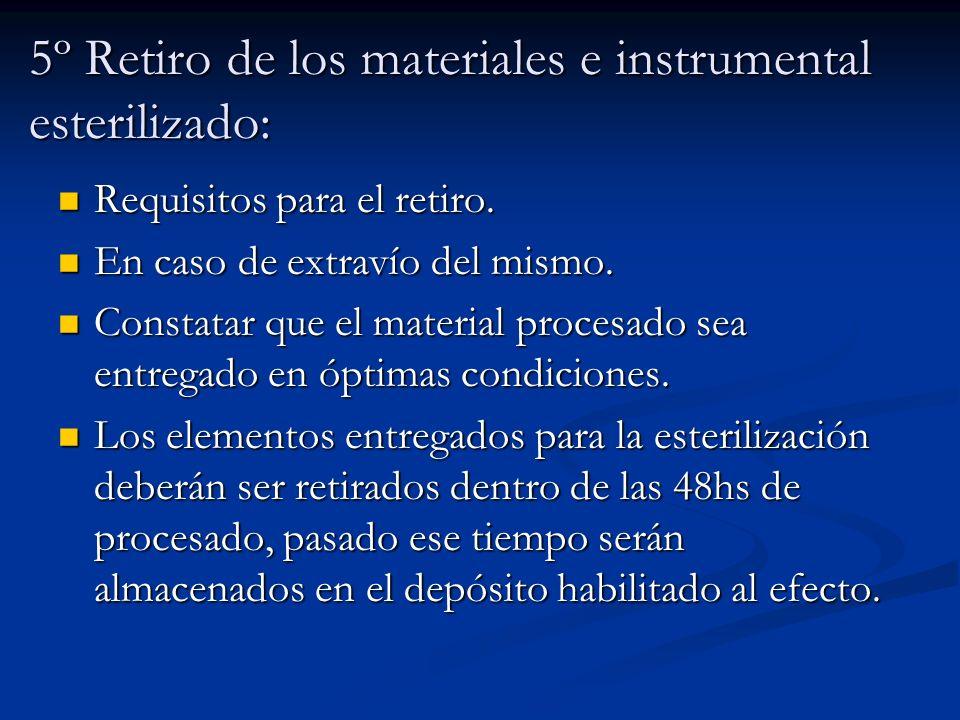 5º Retiro de los materiales e instrumental esterilizado: Requisitos para el retiro. Requisitos para el retiro. En caso de extravío del mismo. En caso