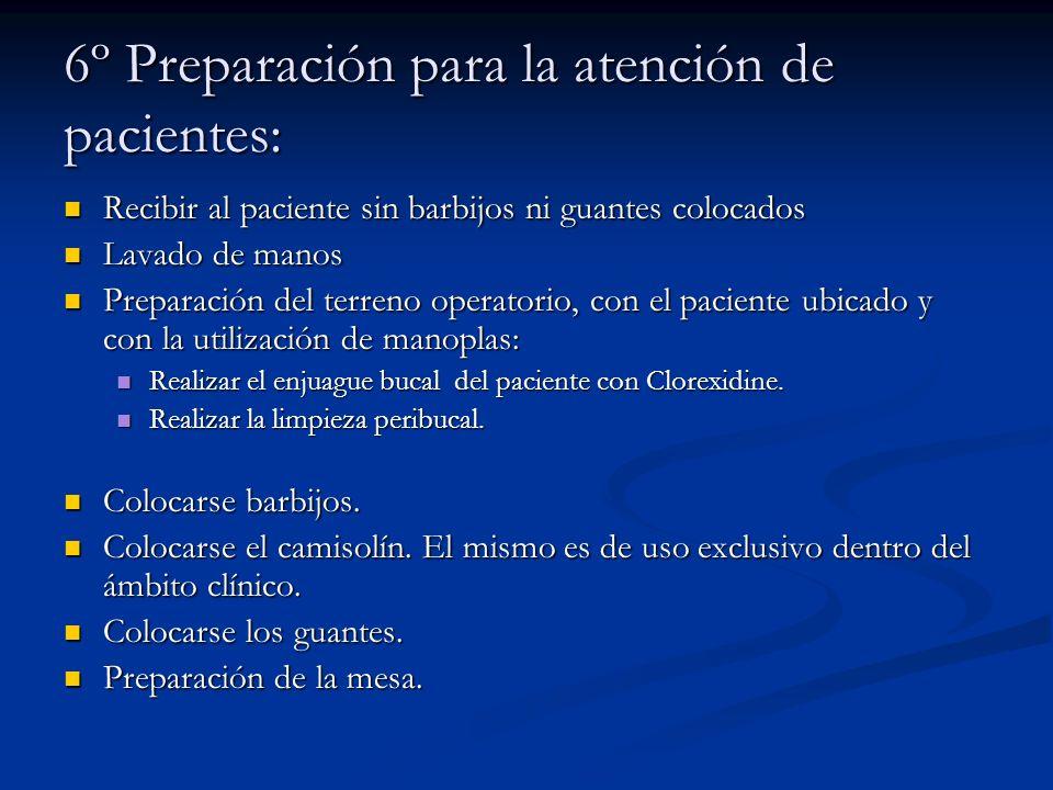 6º Preparación para la atención de pacientes: Recibir al paciente sin barbijos ni guantes colocados Recibir al paciente sin barbijos ni guantes coloca