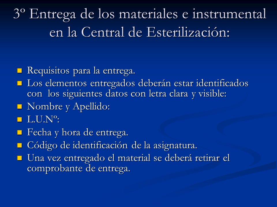 3º Entrega de los materiales e instrumental en la Central de Esterilización: Requisitos para la entrega. Requisitos para la entrega. Los elementos ent