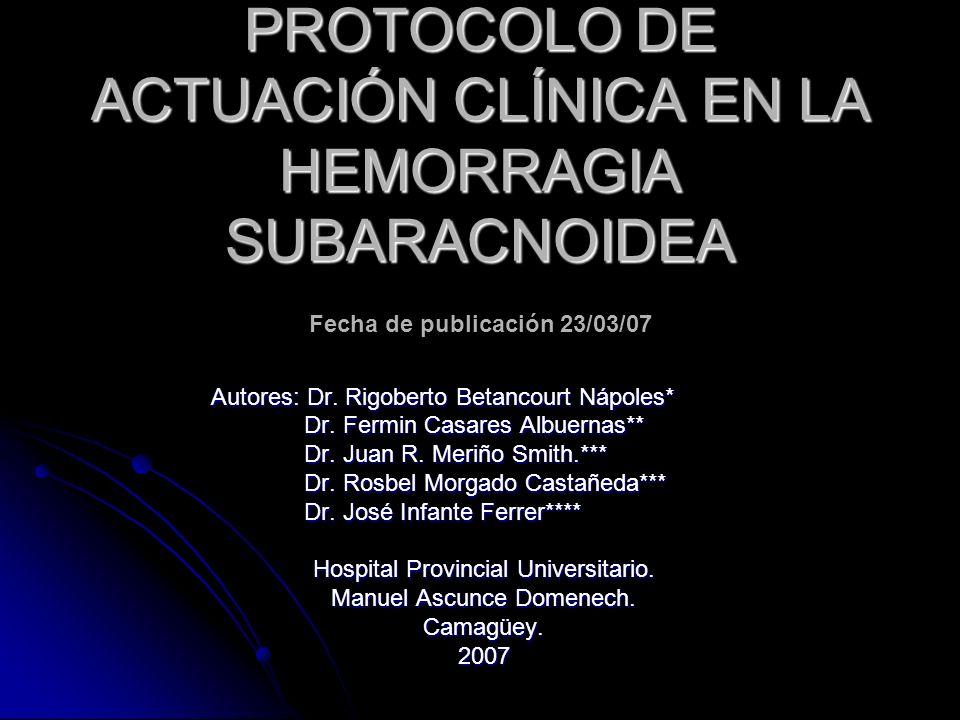Introducción La hemorragia subaracnoidea espontánea (HSA) se define como la ocupación por sangre del espacio subaracnoideo, sin relación con el trauma craneoencefálico.