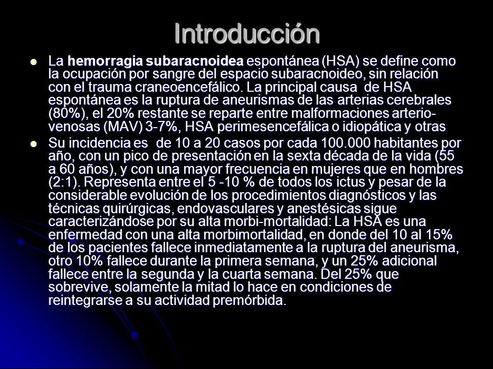 Introducción La hemorragia subaracnoidea espontánea (HSA) se define como la ocupación por sangre del espacio subaracnoideo, sin relación con el trauma