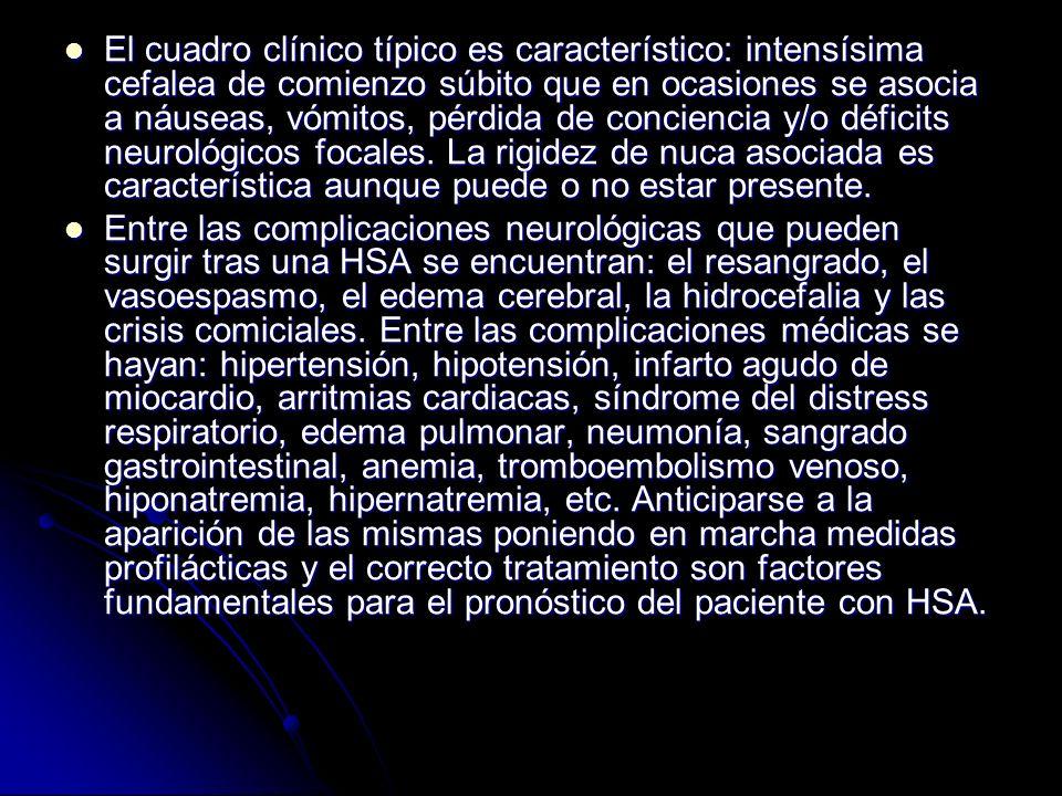 El cuadro clínico típico es característico: intensísima cefalea de comienzo súbito que en ocasiones se asocia a náuseas, vómitos, pérdida de concienci