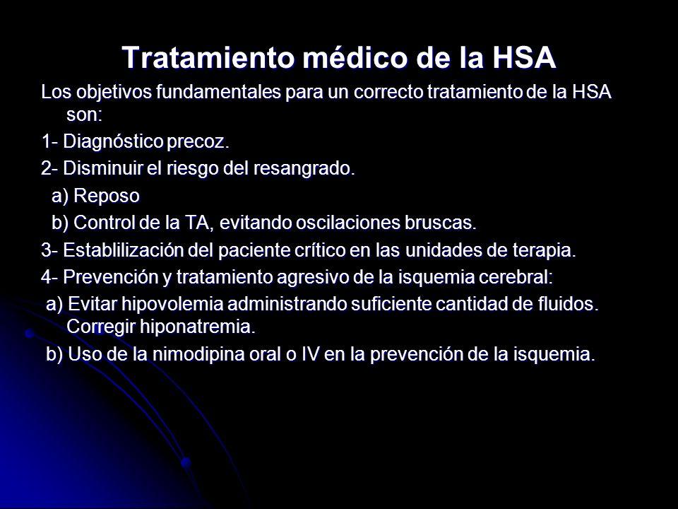 Tratamiento médico de la HSA Los objetivos fundamentales para un correcto tratamiento de la HSA son: 1- Diagnóstico precoz. 2- Disminuir el riesgo del