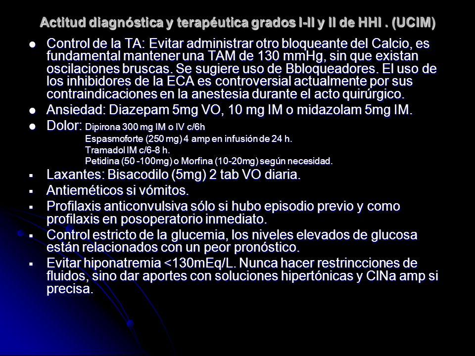 Actitud diagnóstica y terapéutica grados I-II y II de HHI. (UCIM) Control de la TA: Evitar administrar otro bloqueante del Calcio, es fundamental mant