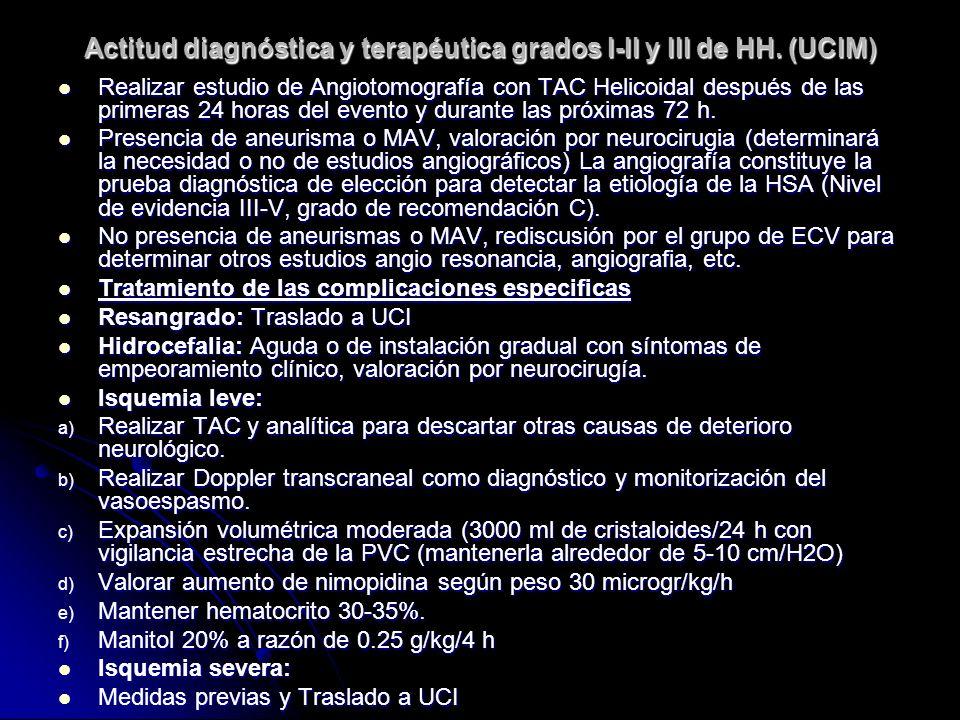 Actitud diagnóstica y terapéutica grados I-II y III de HH. (UCIM) Realizar estudio de Angiotomografía con TAC Helicoidal después de las primeras 24 ho