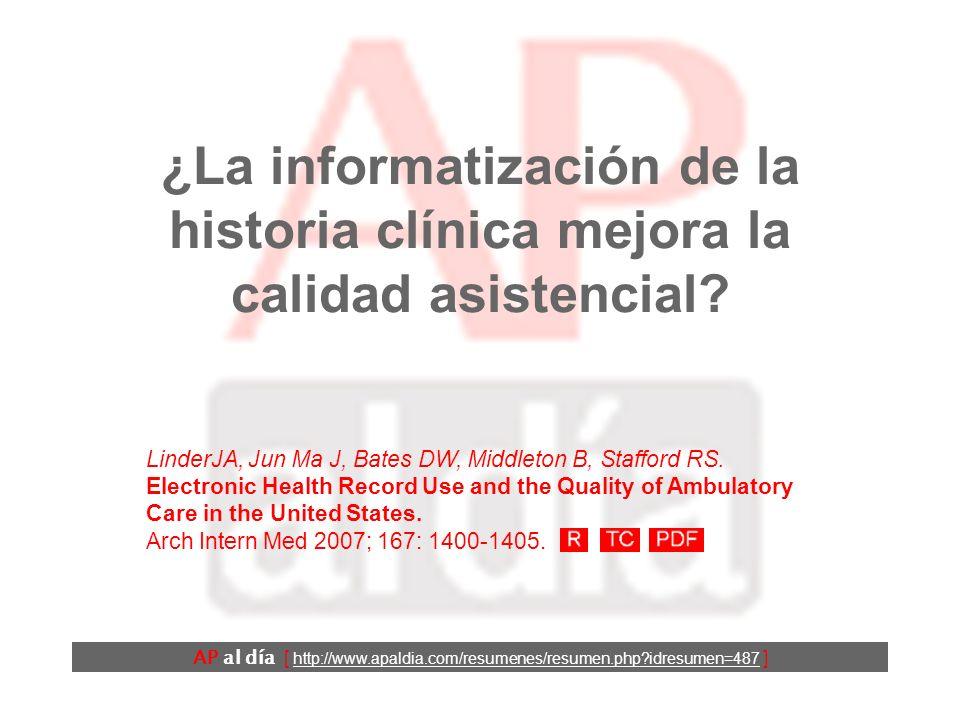 AP al día [ http://www.apaldia.com/resumenes/resumen.php?idresumen=487 ] Antecedentes Se cree que una de las principales ventajas de la informatización de la historia clínica es que puede ayudar a mejorar la calidad de la atención sanitaria prestada.