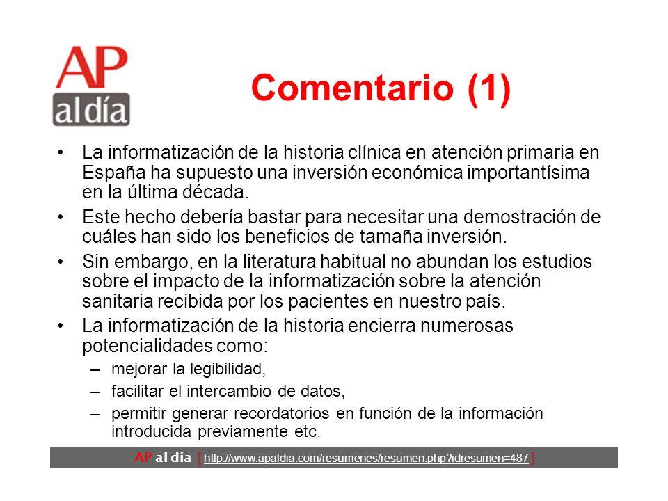 AP al día [ http://www.apaldia.com/resumenes/resumen.php idresumen=487 ] Comentario (1) La informatización de la historia clínica en atención primaria en España ha supuesto una inversión económica importantísima en la última década.