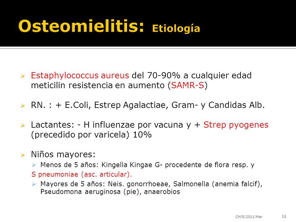 Estaphylococcus aureus del 70-90% a cualquier edad meticilin resistencia en aumento (SAMR-S) RN. : + E.Coli, Estrep Agalactiae, Gram- y Candidas Alb.
