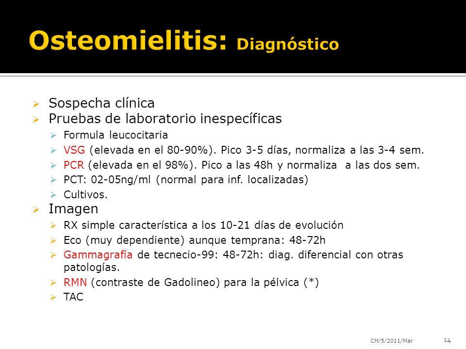 Sospecha clínica Pruebas de laboratorio inespecíficas Formula leucocitaria VSG (elevada en el 80-90%). Pico 3-5 días, normaliza a las 3-4 sem. PCR (el