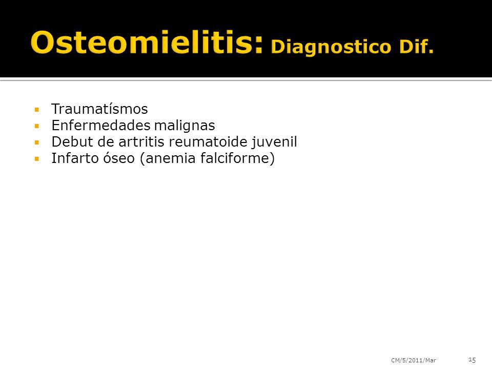 Traumatísmos Enfermedades malignas Debut de artritis reumatoide juvenil Infarto óseo (anemia falciforme) CM/5/2011/Mar 15