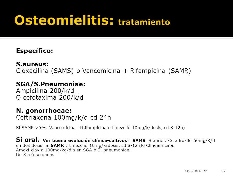 Específico: S.aureus: Cloxacilina (SAMS) o Vancomicina + Rifampicina (SAMR) SGA/S.Pneumoniae: Ampicilina 200/k/d O cefotaxima 200/k/d N.