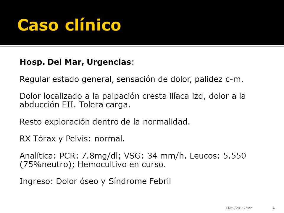 Hosp. Del Mar, Urgencias: Regular estado general, sensación de dolor, palidez c-m. Dolor localizado a la palpación cresta ilíaca izq, dolor a la abduc