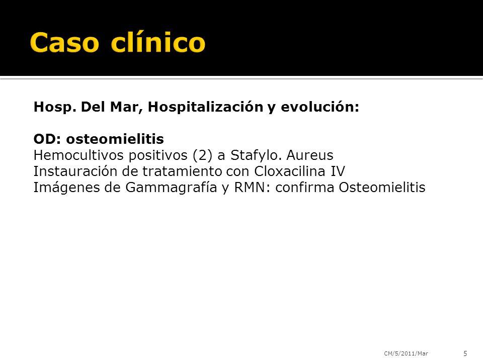 Hosp. Del Mar, Hospitalización y evolución: OD: osteomielitis Hemocultivos positivos (2) a Stafylo. Aureus Instauración de tratamiento con Cloxacilina