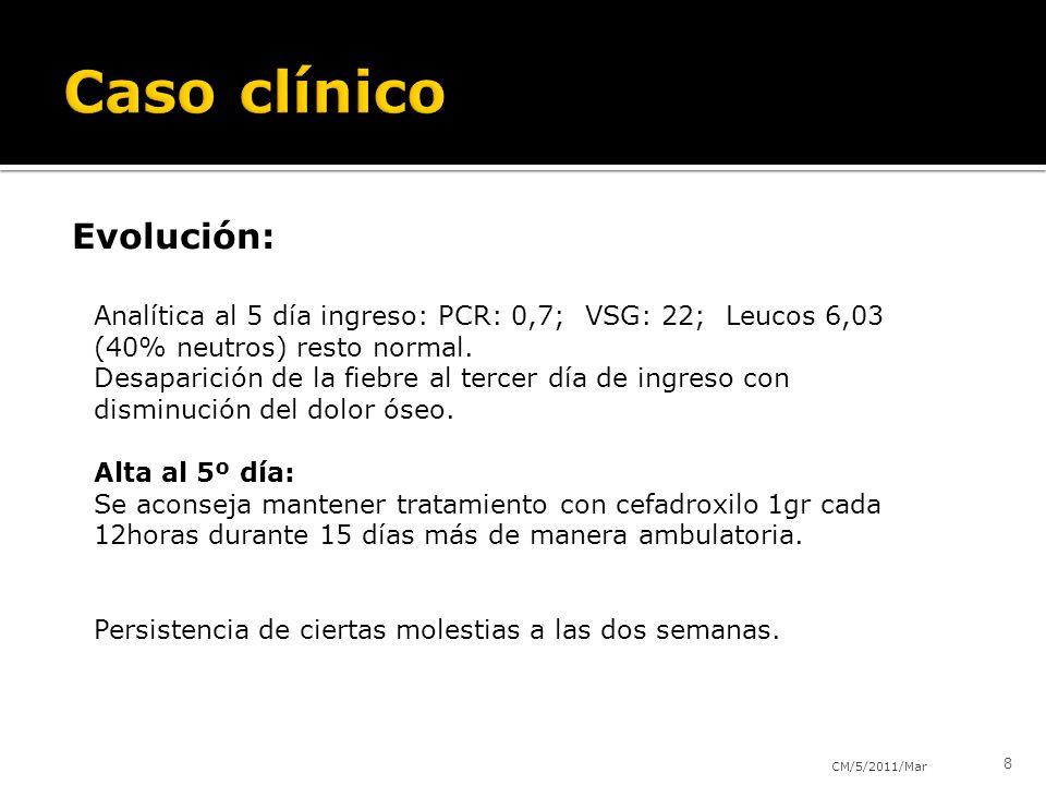 Evolución: CM/5/2011/Mar 8 Analítica al 5 día ingreso: PCR: 0,7; VSG: 22; Leucos 6,03 (40% neutros) resto normal. Desaparición de la fiebre al tercer