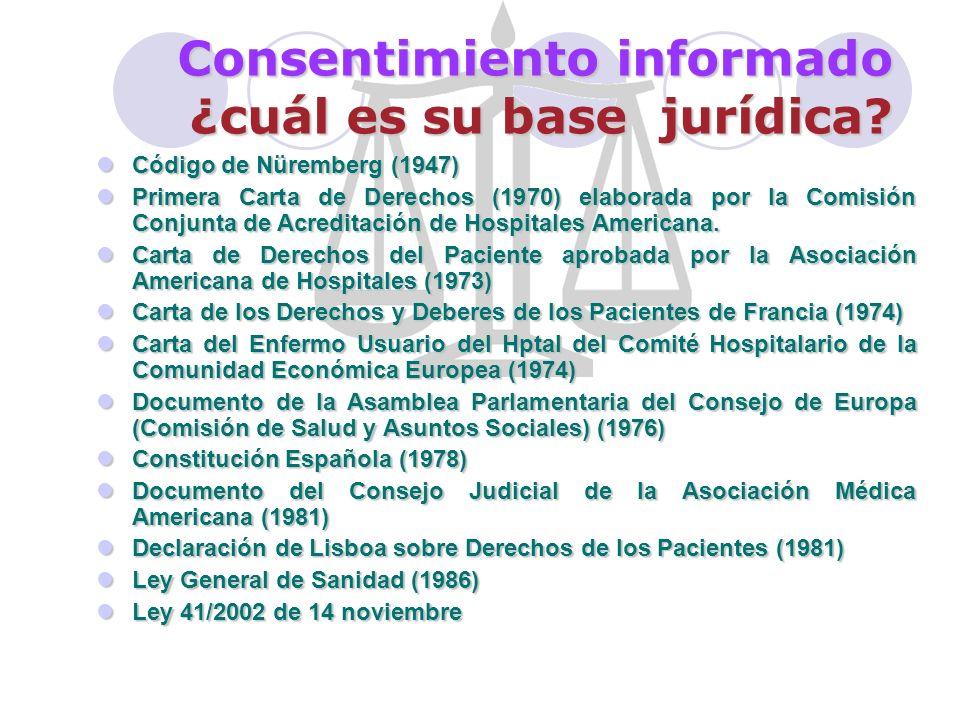 Consentimiento informado: sus comienzos Si bien el Código de Nüremberg de 1947 hacía referencia explícita Al consentimiento voluntario del sujeto, no fue hasta 1964 en que se formuló la Declaración de Helsinky en 1966 en que W.H.
