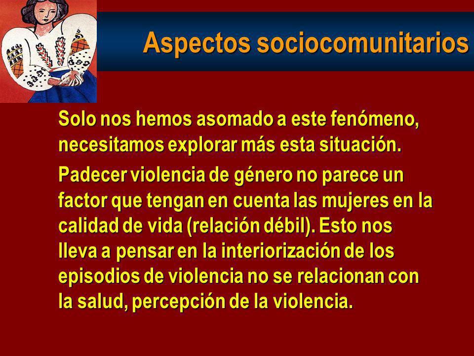 Violencia de género 57,9% manifiestan algún episodio de violencia: 71,7 m. emocional 57,9 m. físico 24,8 m. sexual 24,8 m. institucional 27,6 inseguri